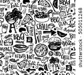 bbq barbecue grill doodle...   Shutterstock .eps vector #505011268