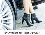 a girl's legs wearing black... | Shutterstock . vector #505019314