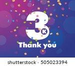 congratulations 3k followers... | Shutterstock .eps vector #505023394