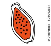 papaya tropical fruit icon... | Shutterstock .eps vector #505043884