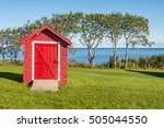 Red Shed With Blue Sky And...