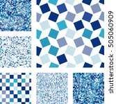 Stock vector set of abstract seamless patterns with squares blue mosaic vector background in minimal style 505060909