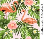 tropical plumeria and camellia... | Shutterstock .eps vector #505061674