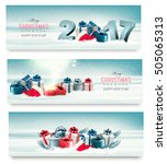 three christmas banners with... | Shutterstock .eps vector #505065313