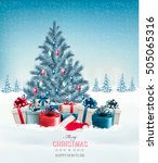 christmas tree with presents... | Shutterstock .eps vector #505065316