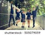 jumping enjoyment friend... | Shutterstock . vector #505079059
