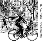 riding bicycle in paris  ... | Shutterstock .eps vector #505079278