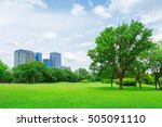 green grass field in big city... | Shutterstock . vector #505091110