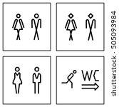 wc   toilet door plate icon set.... | Shutterstock .eps vector #505093984