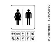 wc   toilet door plate icon set.... | Shutterstock .eps vector #505093990