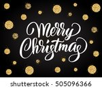 merry christmas card with hand... | Shutterstock .eps vector #505096366