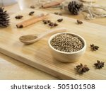 coriander seeds in wooden bowl  ... | Shutterstock . vector #505101508