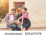 group of young hipster teenager ... | Shutterstock . vector #505107478