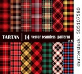 set tartan seamless pattern... | Shutterstock .eps vector #505107580