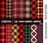 Set Tartan Seamless Pattern...