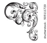 vintage baroque corner scroll... | Shutterstock .eps vector #505111720
