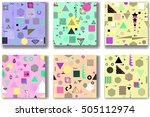 abstract seamless patterns 80's ... | Shutterstock .eps vector #505112974