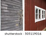 a wall of an old barn. red shed ... | Shutterstock . vector #505119016
