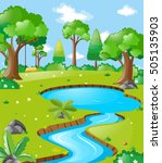 scene with river in the forest...   Shutterstock .eps vector #505135903