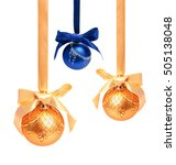 Small photo of Hunging golden ahd blue christmas balls isolated on a white background