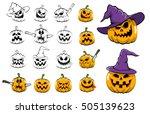 halloween pumpkins monochrome...   Shutterstock . vector #505139623