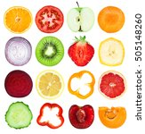 slices of fruits and vegetables.... | Shutterstock . vector #505148260