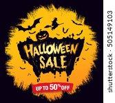 halloween sale. vector... | Shutterstock .eps vector #505149103