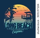 sunset. beach tee print | Shutterstock .eps vector #505157104