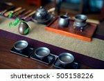 asian tea set on wooden table | Shutterstock . vector #505158226