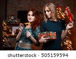 two girls girlfriends at a... | Shutterstock . vector #505159594