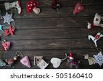christmas decorations on wooden ... | Shutterstock . vector #505160410