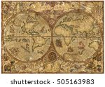 vintage illustration with world ... | Shutterstock . vector #505163983