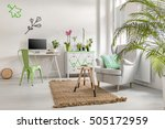 room with office desk and plants | Shutterstock . vector #505172959