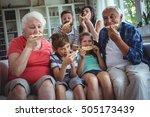 multi generation family having... | Shutterstock . vector #505173439