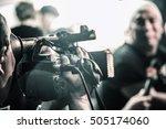 cameraman is filming a movie... | Shutterstock . vector #505174060