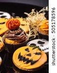 halloween gingerbread cookies | Shutterstock . vector #505178596