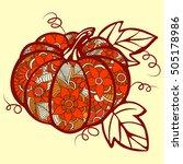 pumpkin doodle isolated line... | Shutterstock .eps vector #505178986