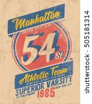college. tee print vintage... | Shutterstock .eps vector #505181314