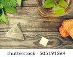 tea bag  mint  cookie and cup... | Shutterstock . vector #505191364