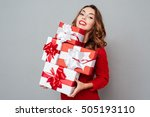 woman in red sweater holding... | Shutterstock . vector #505193110