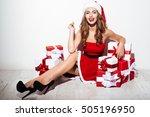 Pretty Christmas Girl Sitting...