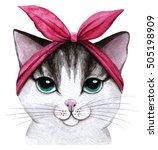 Cute Cat. Watercolor...