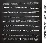 hand drawn christmas decorative ... | Shutterstock .eps vector #505208404
