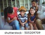 family having fun in living... | Shutterstock . vector #505209709