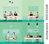 set of business people working... | Shutterstock .eps vector #505210168