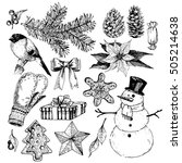 vector set of christmas objects.... | Shutterstock .eps vector #505214638