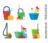 set of cleaning equipment ... | Shutterstock .eps vector #505224523