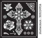 cross christian flowers... | Shutterstock .eps vector #505224916