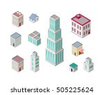 isometric city buildings vector ... | Shutterstock .eps vector #505225624