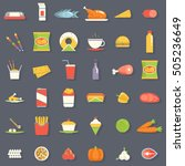 food icons and symbols set... | Shutterstock .eps vector #505236649
